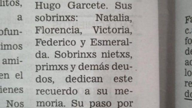 Fragmento del primer aviso fúnebre publicado el domingo 1 de noviembre con lenguaje inclusivo en La Capital.