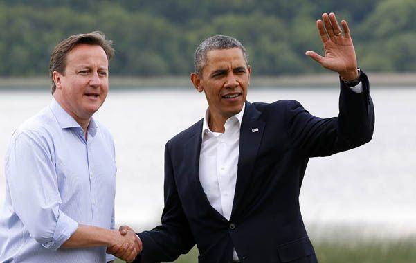 Unidos. Cameron y Obama ayer en la primera jornada de la cumbre del G-8 en Irlanda del Norte.