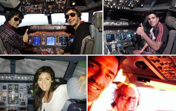 La vedette no fue la única que publicó fotos en la cabina de un avión.