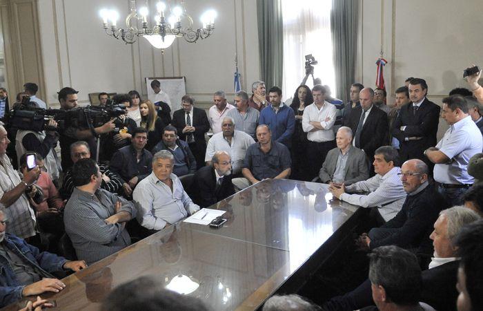 La reunión de ayer en Gobernación. Lamberto y Berni