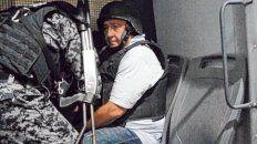 En el furgón. Luis Paz cuando fue transferido al penal de Marcos Paz.