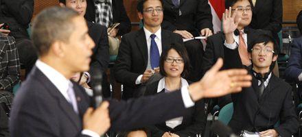 Obama habló de respeto a los derechos humanos ante estudiantes chinos