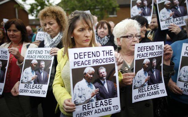 Protesta. Manifestación en Belfast a favor de Gerry Adams.