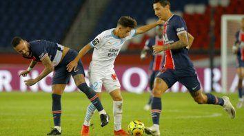 A Di María le anularon un gol (ST 17m) y fue acusado por el defensor español Alvaro González de haberlo escupido, acción prohibida en tiempos de pandemia de coronavirus.