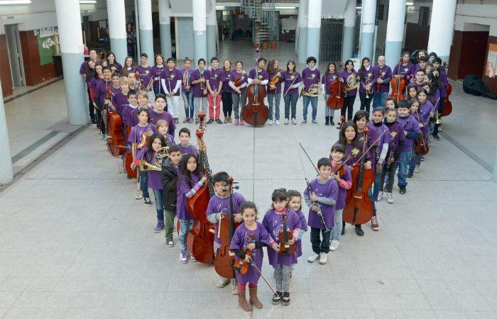 Los chicos de la orquesta Sinfónica Infantil y Juvenil El Triángulo.
