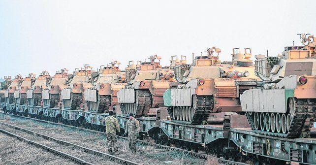 Fuerza militar. Un batallón de tanques estadounidenses M-1 Abrams