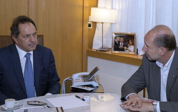 Scioli y Perotti en la sede del Banco Provincia.