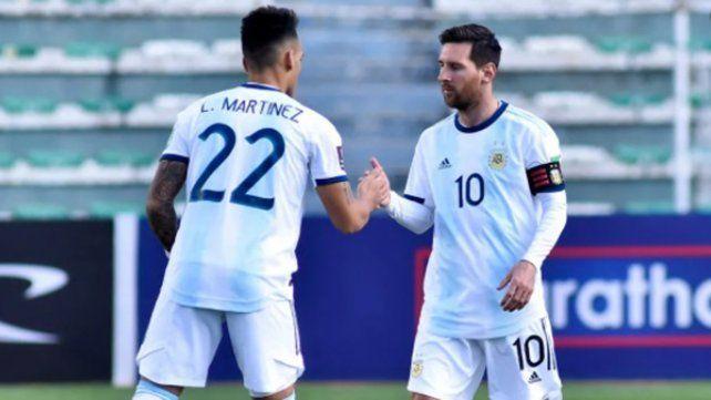 Lautaro Martínez y Lionel Messi