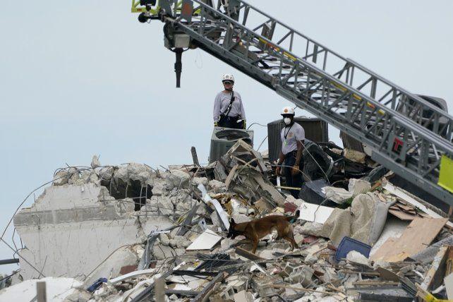 Una grúa ayuda a los rescatistas sobre la montaña de escombros que dejó el derrumbe.