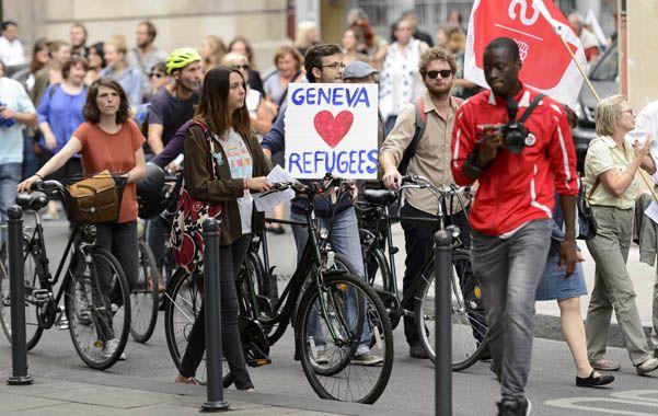 Europa dividida. Los ciudadanos suizos expresaron su solidaridad con los refugiados en Ginebra.