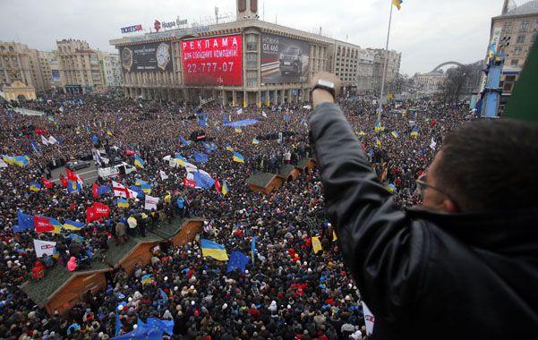 Masividad. La plaza central de Kiev volvió a verse repleta como en la rebelión de 2004