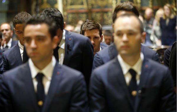 A Messi se lo vio lagrimear durante la misa celebrada en Barcelona en homenaje a Vilanova.