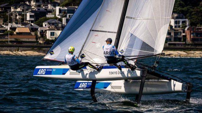 La dupla Carranza Saroli - Lange, en plena competencia en Tokio 2020.