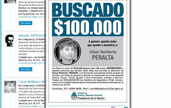 El Ministerio de Justicia y Derechos Humanos de la Nación ofrecía recompensa por la Pirincha Peralta.