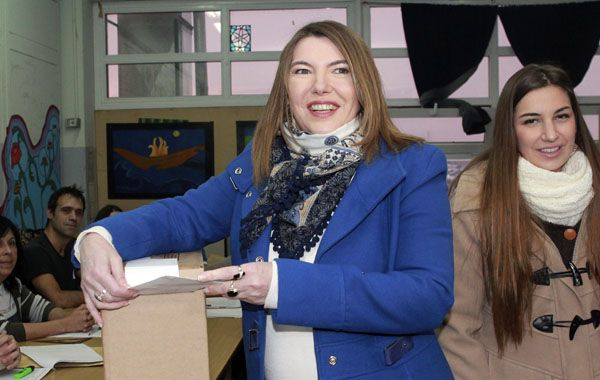 Rosana Bertone (FpV) al votar esta mañana.