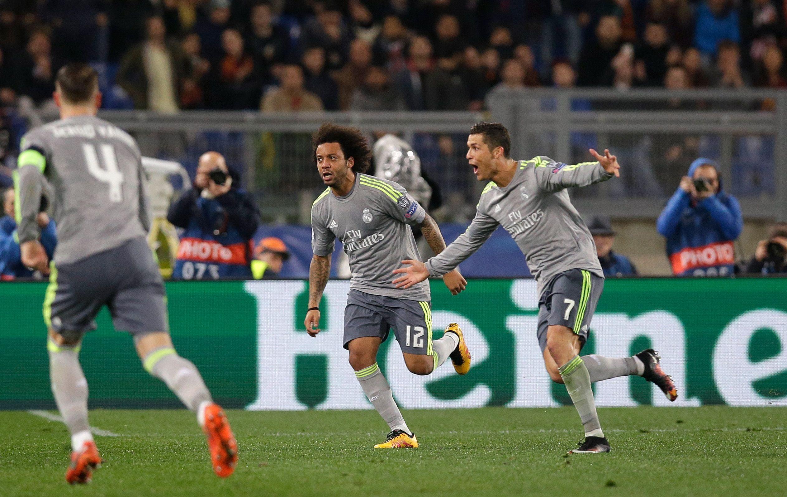Goleador. Cristiano Ronaldo festeja el primer tanto de los españoles y su número 89 en la historia de la Champions.