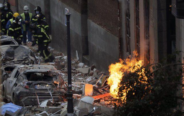 Murieron tres personas en la explosión en el centro de Madrid