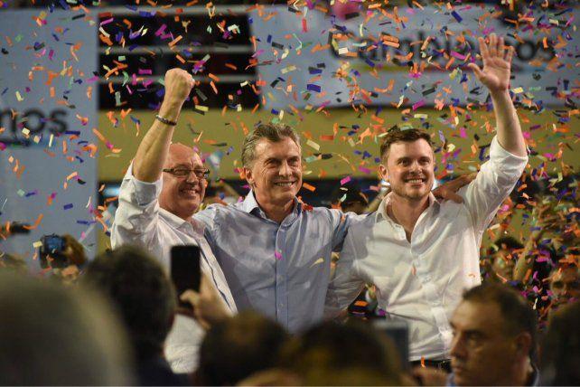 Tras el discurso. Macri posó junto a Cantard y López Molina