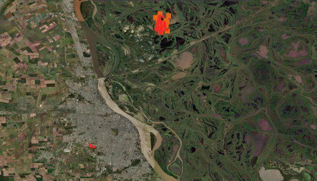 El mapa satelital de la Nasa revela dónde se ubican los focos de los incendios en las islas de Entre Ríos.