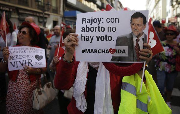 Malestar. Antiabortistas presionaron a Rajoy en septiembre en contra del proyecto del entonces ministro de Justicia.