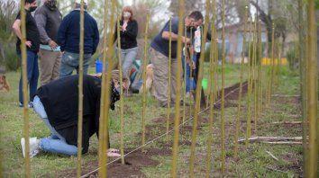 Los ambientalistas, en el momento en que plantaron sauces y árboles frutales que, cuando se pueda, serán replantados en la zona de El Espinillo y El Embudo.