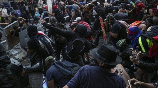 violencia. El martes en Santiago cuando se cumplió la huelga general.