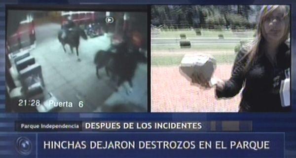 Los violentos también rompieron bancos en el Parque Independencia (video)