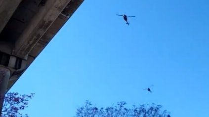 Las redes sociales se poblaron de fotos y videos que registraban el paso de los helicópteros sobre la ciudad.